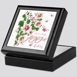 100th Birthday Pink Floral Vine Keepsake Box